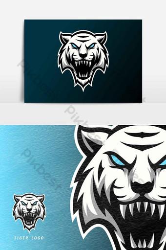 tigre enojado blanco mascota deporte esport logo plantilla colmillos largos elemento gráfico vectorial Elementos graficos Modelo AI