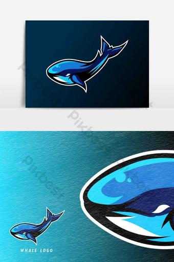 Blue whale fish mascot sport esport logo template Vector Graphic Element PNG Images Template AI