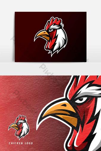 elemento gráfico del vector de la plantilla del logotipo del deporte esport de la mascota del asador de pollo rojo Elementos graficos Modelo AI