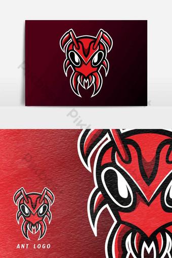 elemento gráfico de vector de plantilla de logotipo de deporte de mascota de cabeza de hormiga roja Elementos graficos Modelo AI