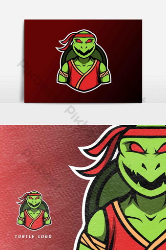 Angry ninja turtle mascot, sport esport logo template Vector Graphic Element PNG Images Template AI