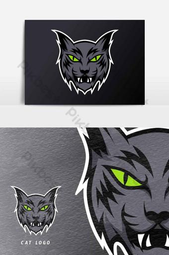 elemento gráfico de vector de plantilla de logotipo de deporte de mascota de gato enojado negro Elementos graficos Modelo AI
