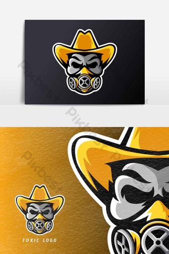 tóxico cráneo máscara sombrero deporte esport juego mascota logotipo plantilla vector elemento gráfico Elementos graficos Modelo AI