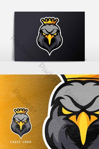 elemento gráfico del vector de la plantilla del logotipo de la mascota del juego esport del deporte del rey del águila negra Elementos graficos Modelo AI