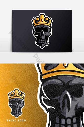 elemento gráfico de vector de plantilla de logotipo de deporte esport de mascota de corona de rey calavera negra Elementos graficos Modelo AI