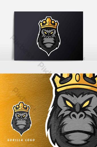 rey negro gorila mono mascota deporte esport logo plantilla vector elemento gráfico Elementos graficos Modelo AI