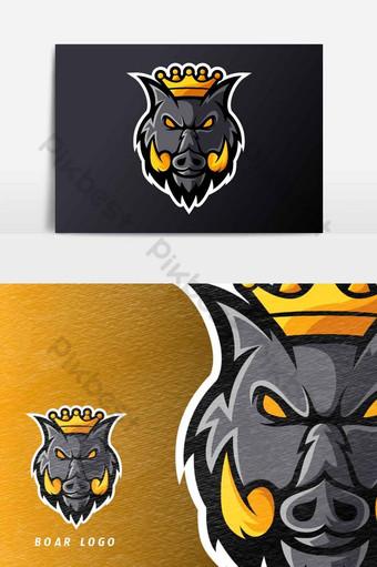 enojado rey jabalí cerdo animal deporte o esport juego mascota logotipo plantilla vector elemento gráfico Elementos graficos Modelo AI