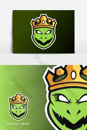 enojado rey tortuga ninja mascota deporte esport logo plantilla vector elemento gráfico Elementos graficos Modelo AI