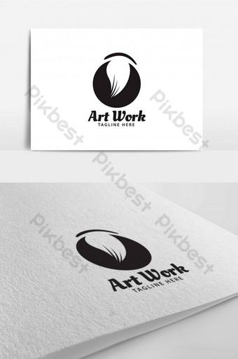 قالب تصميم شعار فرشاة سوداء للعمل الفني لشعار متجر تعليم المجتمع قالب AI