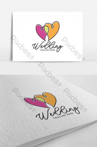 Plantilla de diseño de logotipo de amor de corazón de pareja de línea llena de colores para organizador de eventos de fiesta Modelo AI