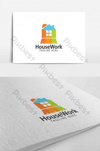 красочный дом рабочее окно метла дизайн логотипа шаблон для бизнес приложений шаблон AI