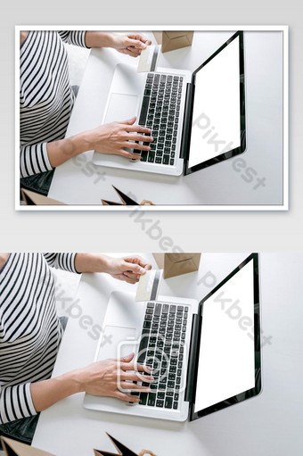 Woman's hands using credit card register payments online shopping and customer service photo Photo Template JPG