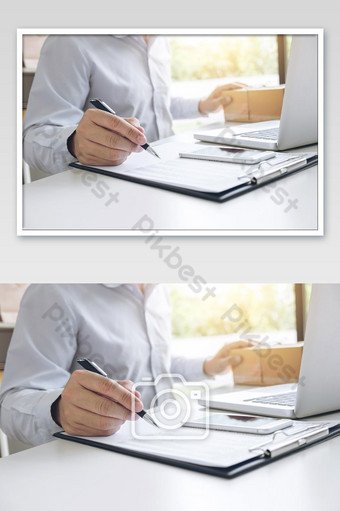 Man seller write a order product to prepare for delivery to customers, customer service photo Photo Template JPG