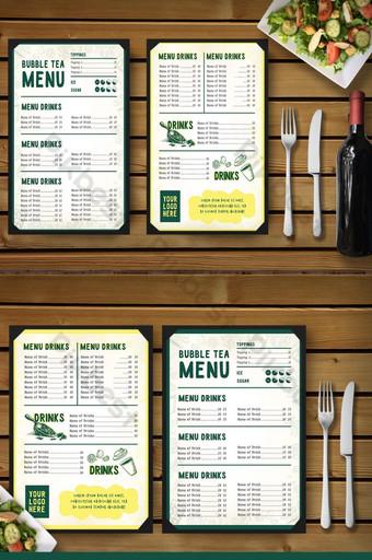 الأخضر والأصفر فقاعة الشاي والقائمة القهوة بسيطة قالب AI