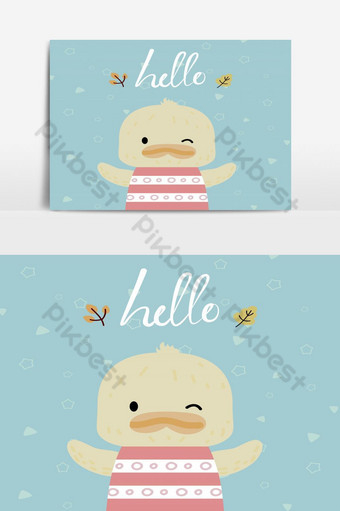 cute yellow duck with message hello Vector Graphic Element PNG Images Template AI