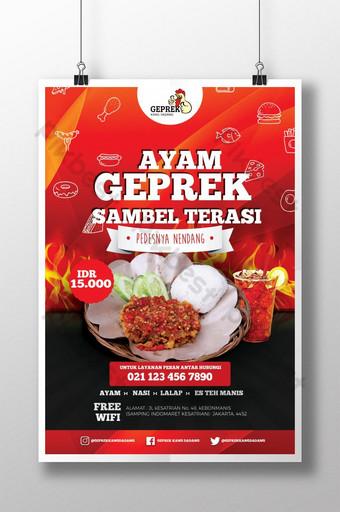 poster promosi ayam geprek Templat PSD