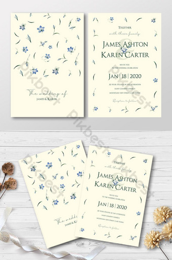 Full Set Elegant Blue And Green Watercolors Floral Pattern Wedding Invitation Card Template AI