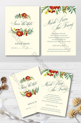 full set vintage red watercolors floral pattern wedding invitation card Template AI