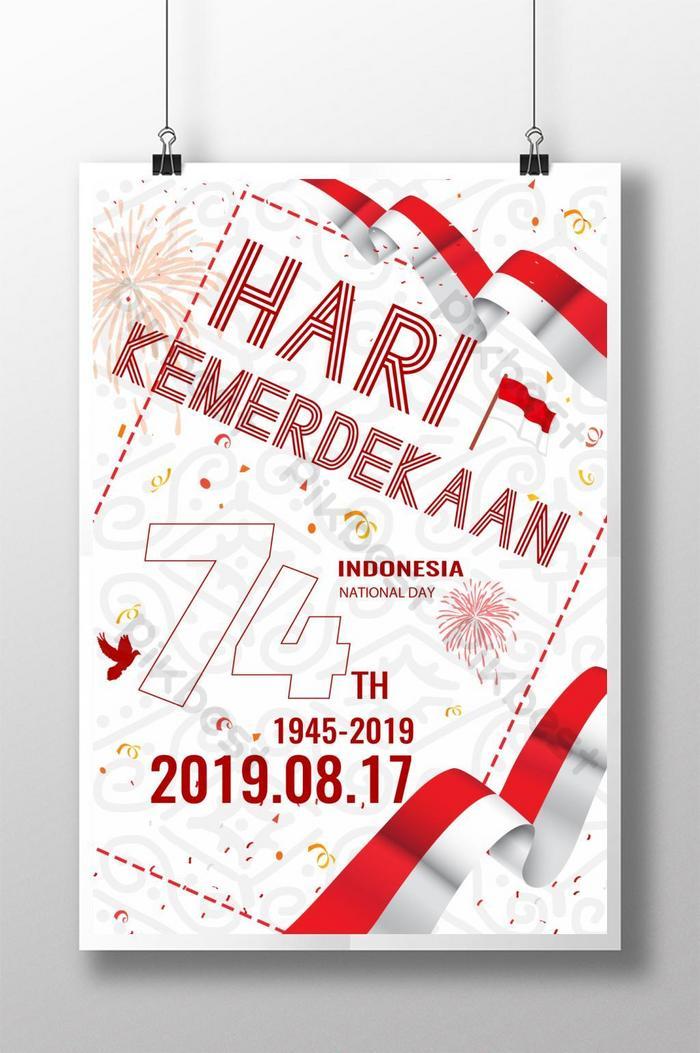 ธงสร้างสรรค์ฉลองโปสเตอร์วันชาติชาวอินโดนีเซีย