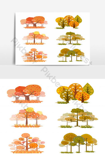 conjunto de árboles otoñales aislado elemento gráfico vectorial Elementos graficos Modelo EPS