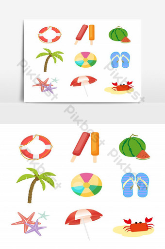 Set of Summer elements Life ring, ice cream, watermelon, palm tree Vector Graphic Element PNG Images Template EPS