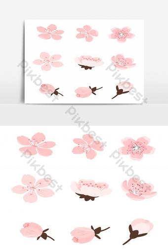 conjunto de flores de sakura elemento gráfico de vector aislado flor de cerezo Elementos graficos Modelo EPS