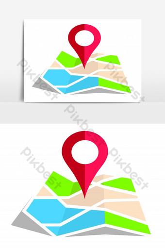علامة الموقع على الخريطة معزولة عنصر الرسم المتجه صور PNG قالب EPS