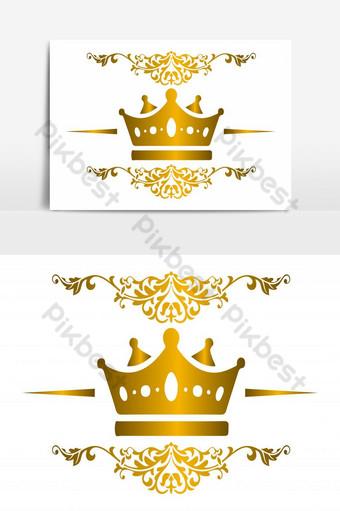 corona dorada con hermoso patrón elemento gráfico vectorial aislado Elementos graficos Modelo EPS