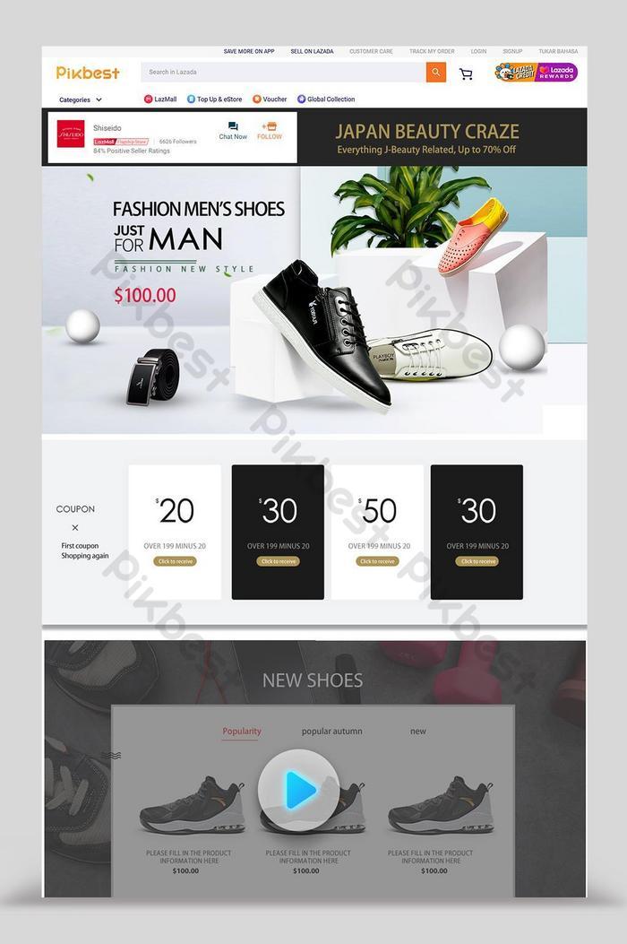 modello di design per la casa di promozione delle scarpe da uomo di lazada