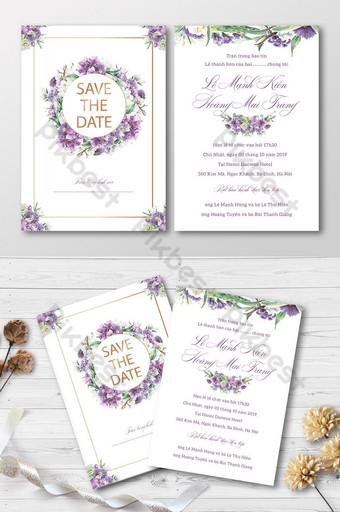 Full Set Beautiful Purple Golden Blooming Watercolors Orchid Wedding Invitation Card Template AI