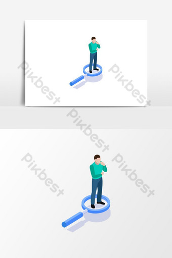 A man searching new thing cartoon Vector Graphic Element PNG Images Template EPS