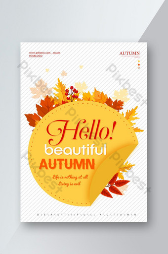 Bonjour automne orange papier découpé affiche flyer design créatif Modèle PSD