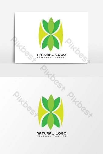الطبيعية الخضراء زهرة شعار قالب عنصر الرسم ناقلات صور PNG قالب AI