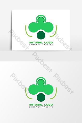 الزهرة الخضراء الطبيعية شعار مفهوم عنصر الرسم ناقلات صور PNG قالب AI