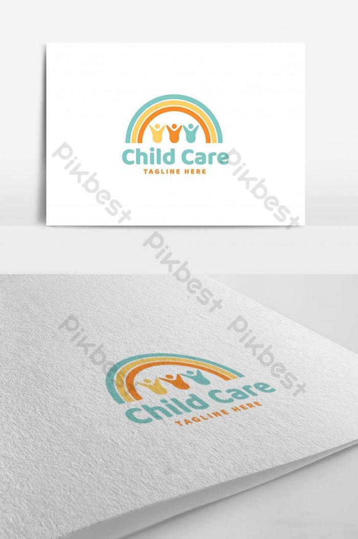 drei kinderbetreuung unter regenbogengemeinschaft logo design vorlage inspiration