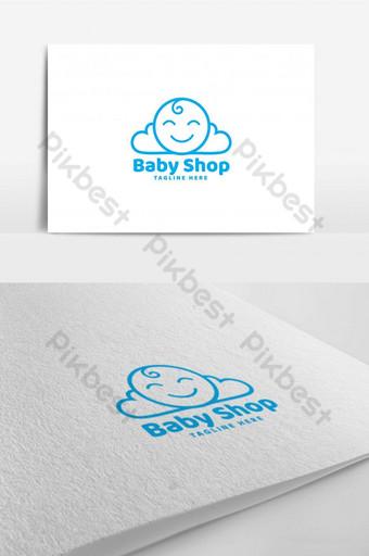sonrisa bebé nube tienda línea logo diseño plantilla inspiración Modelo AI