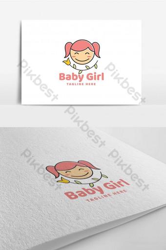 linda sonrisa bebé niña línea logo ilustración plantilla inspiración Modelo AI