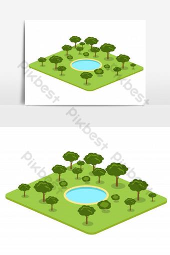 Ilustración de vector de parque lleno de árboles y elemento gráfico de vector aislado de piscina moderna Elementos graficos Modelo EPS