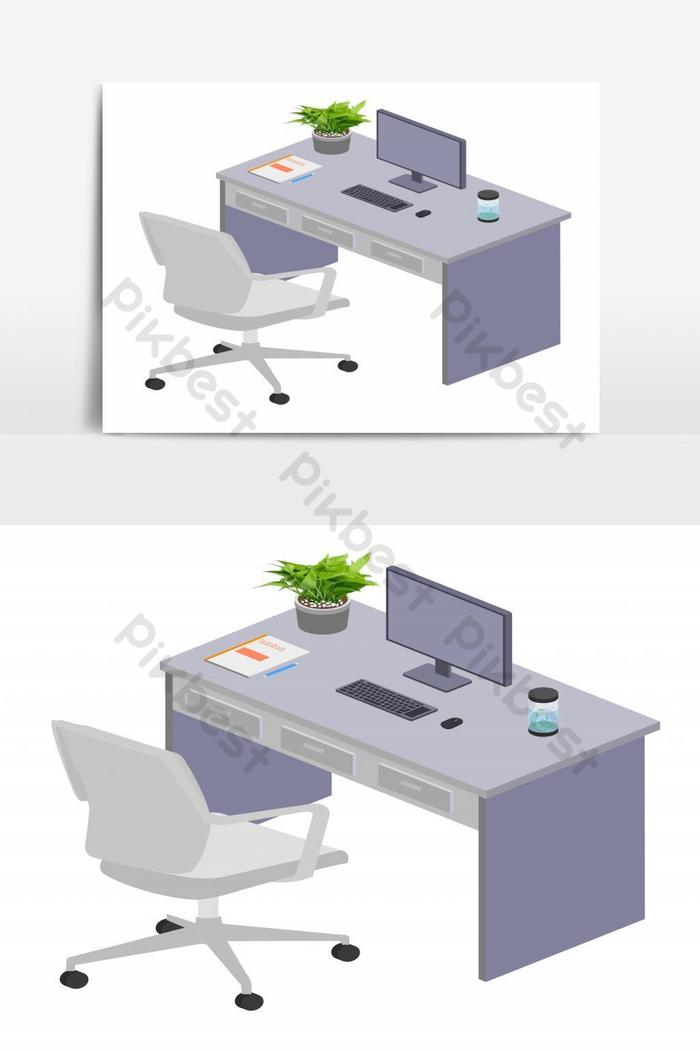 Modern Office Desk With Stationary And It Tools Placed On Top Isolated Vector Graphic Element Png Images Eps Free Download Pikbest