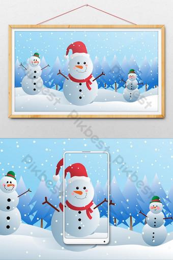 tres muñeco de nieve en el clima nevado ilustración navidad Ilustración Modelo PSD