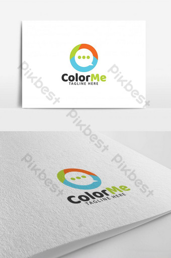 Colorful modern chat messaging logo design template Template AI