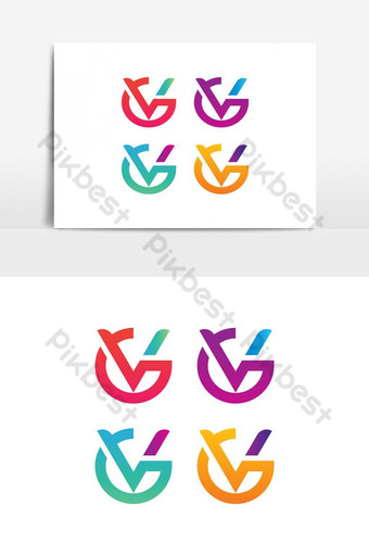 elemento gráfico de vector logo gv Elementos graficos Modelo EPS