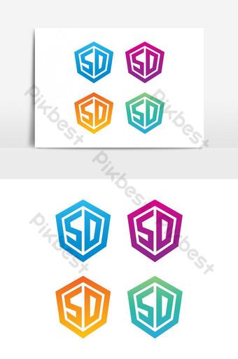 elemento gráfico de vector logo sd Elementos graficos Modelo EPS