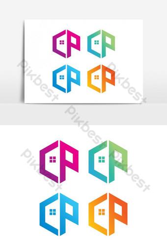 elemento gráfico de vector logo cp Elementos graficos Modelo EPS