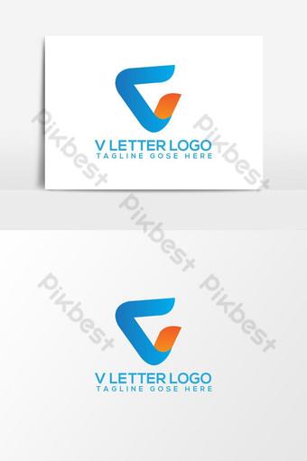 elemento gráfico de vector de logotipo de letra v Elementos graficos Modelo AI