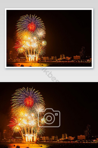 Firework colorful on night city view background for celebration festival. Photo Template JPG