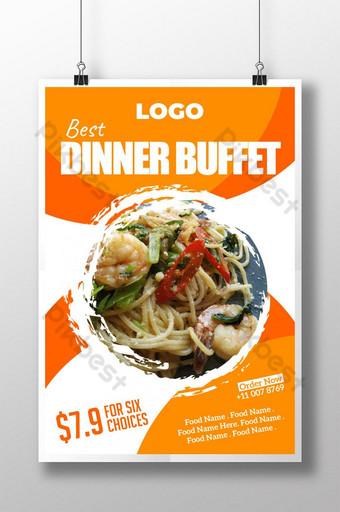 Modello di poster di cibo ristorante Sagoma AI
