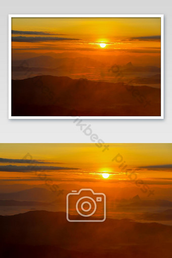 Beautiful landscape in the mountains with sunrise in a morning photo Photo Template JPG