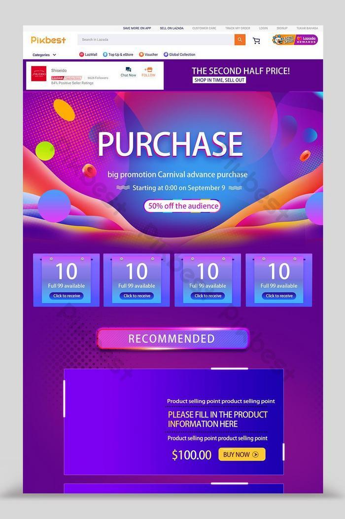 página inicial da promoção lazada blue background