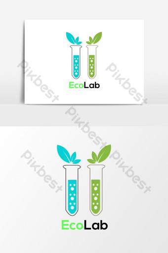 مختبر بيئي طبيعي زهرة خضراء شعار قالب ناقلات عنصر الرسم صور PNG قالب AI